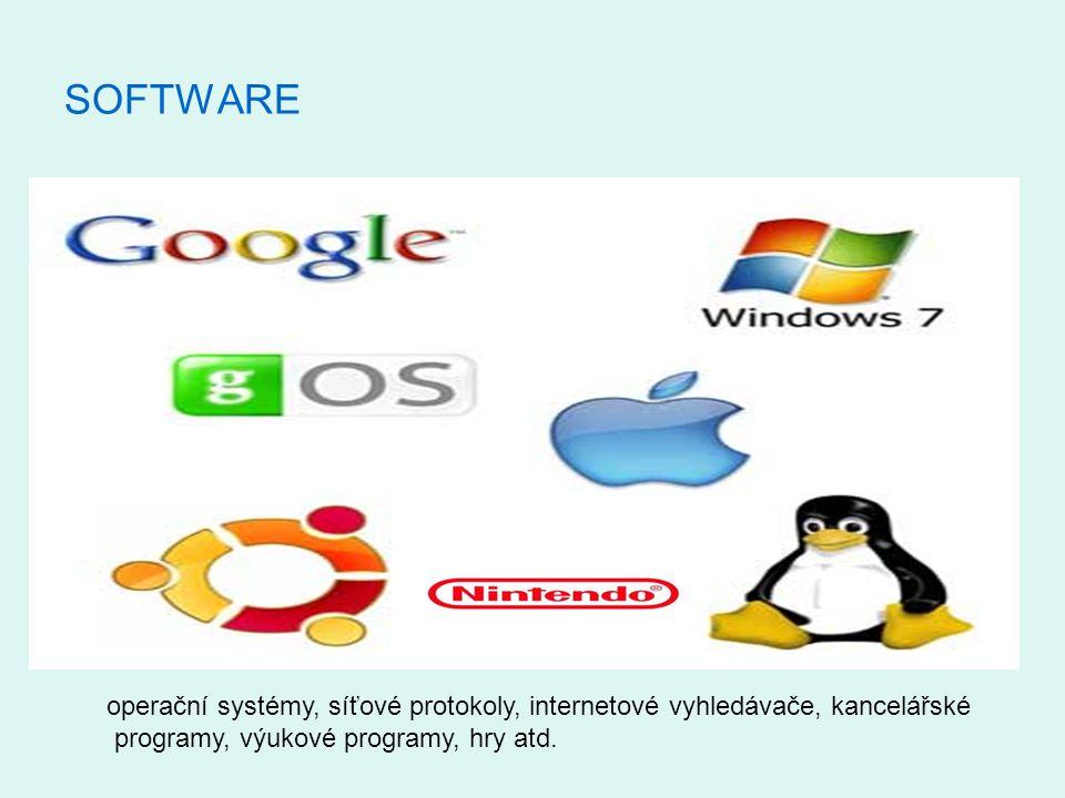 SOFTWARE operační systémy, síťové protokoly, internetové vyhledávače, kancelářské programy, výukové programy, hry atd.
