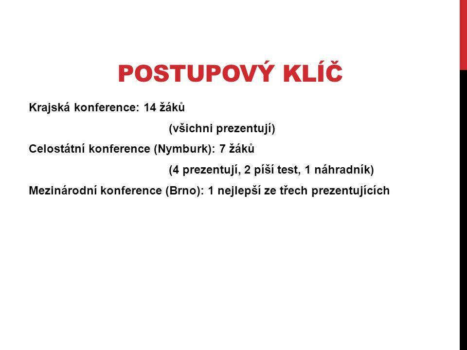 POSTUPOVÝ KLÍČ Krajská konference: 14 žáků (všichni prezentují) Celostátní konference (Nymburk): 7 žáků (4 prezentují, 2 píší test, 1 náhradník) Mezinárodní konference (Brno): 1 nejlepší ze třech prezentujících