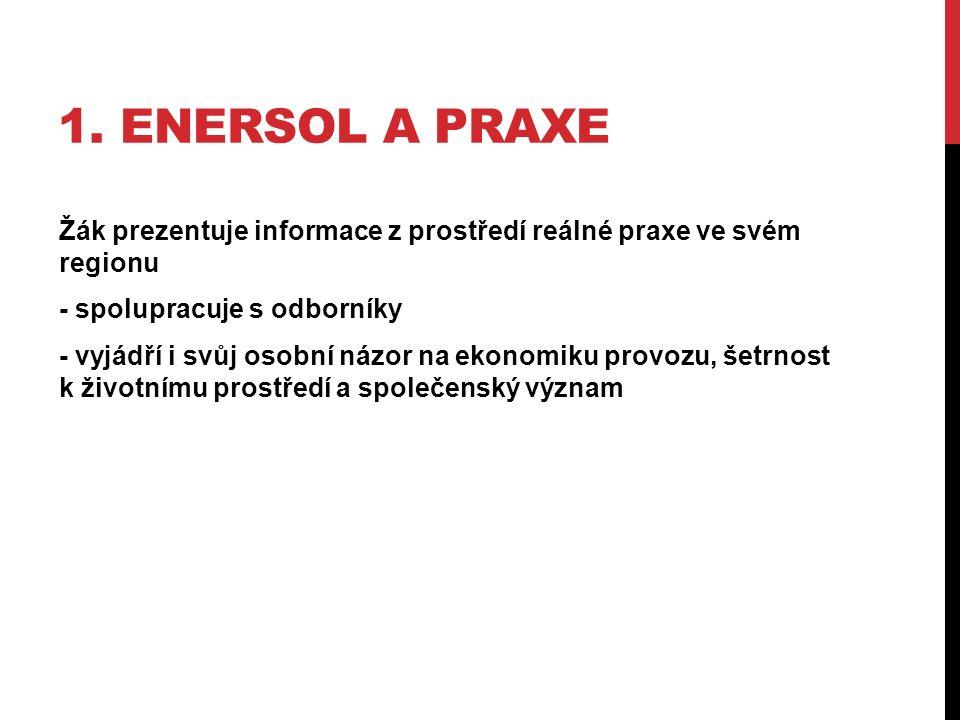 1. ENERSOL A PRAXE Žák prezentuje informace z prostředí reálné praxe ve svém regionu - spolupracuje s odborníky - vyjádří i svůj osobní názor na ekono