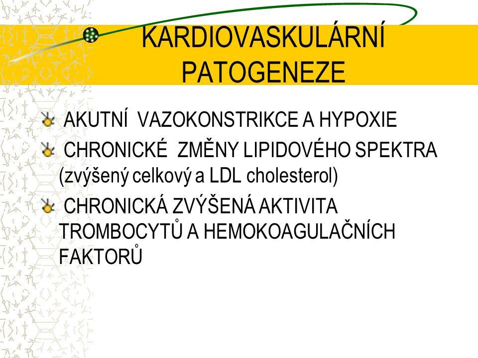 KARDIOVASKULÁRNÍ PATOGENEZE AKUTNÍ VAZOKONSTRIKCE A HYPOXIE CHRONICKÉ ZMĚNY LIPIDOVÉHO SPEKTRA (zvýšený celkový a LDL cholesterol) CHRONICKÁ ZVÝŠENÁ AKTIVITA TROMBOCYTŮ A HEMOKOAGULAČNÍCH FAKTORŮ