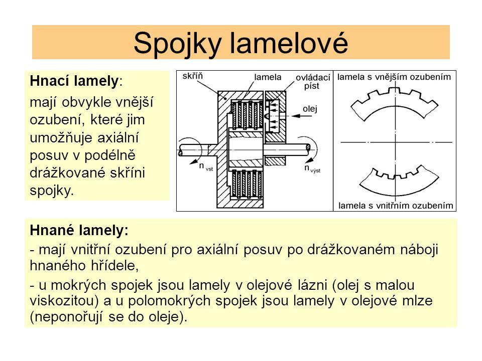 Spojky lamelové Hnací lamely: mají obvykle vnější ozubení, které jim umožňuje axiální posuv v podélně drážkované skříni spojky. Hnané lamely: - mají v