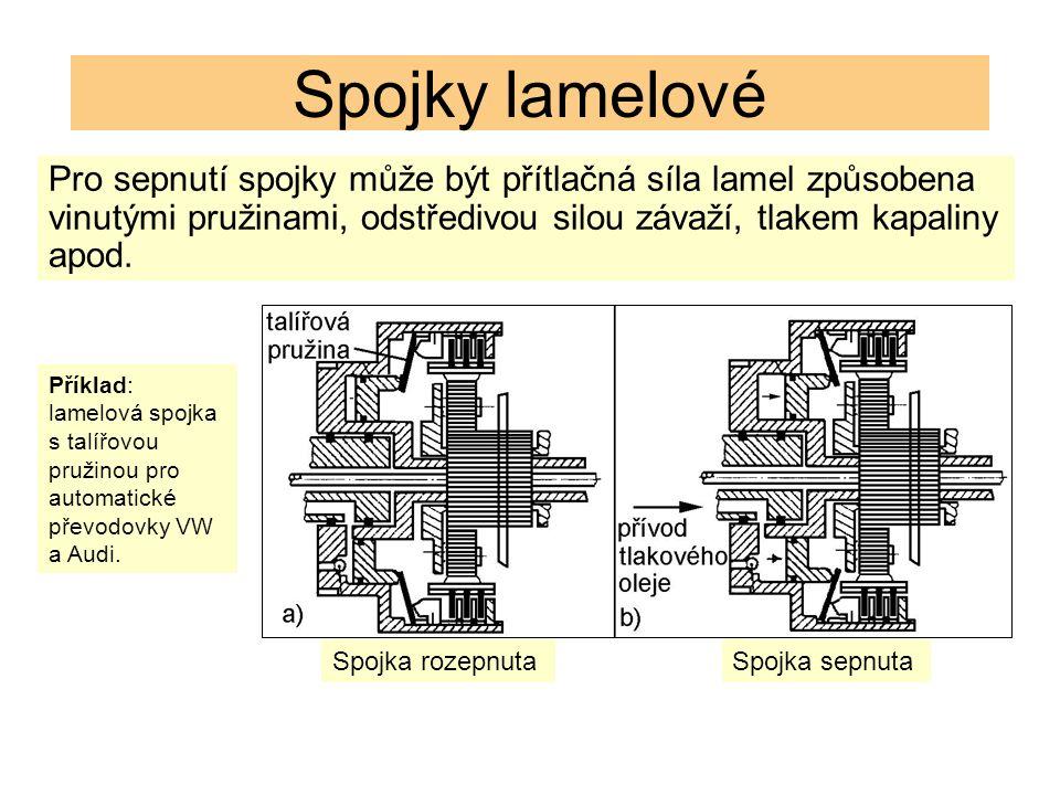 Spojky lamelové Pro sepnutí spojky může být přítlačná síla lamel způsobena vinutými pružinami, odstředivou silou závaží, tlakem kapaliny apod.