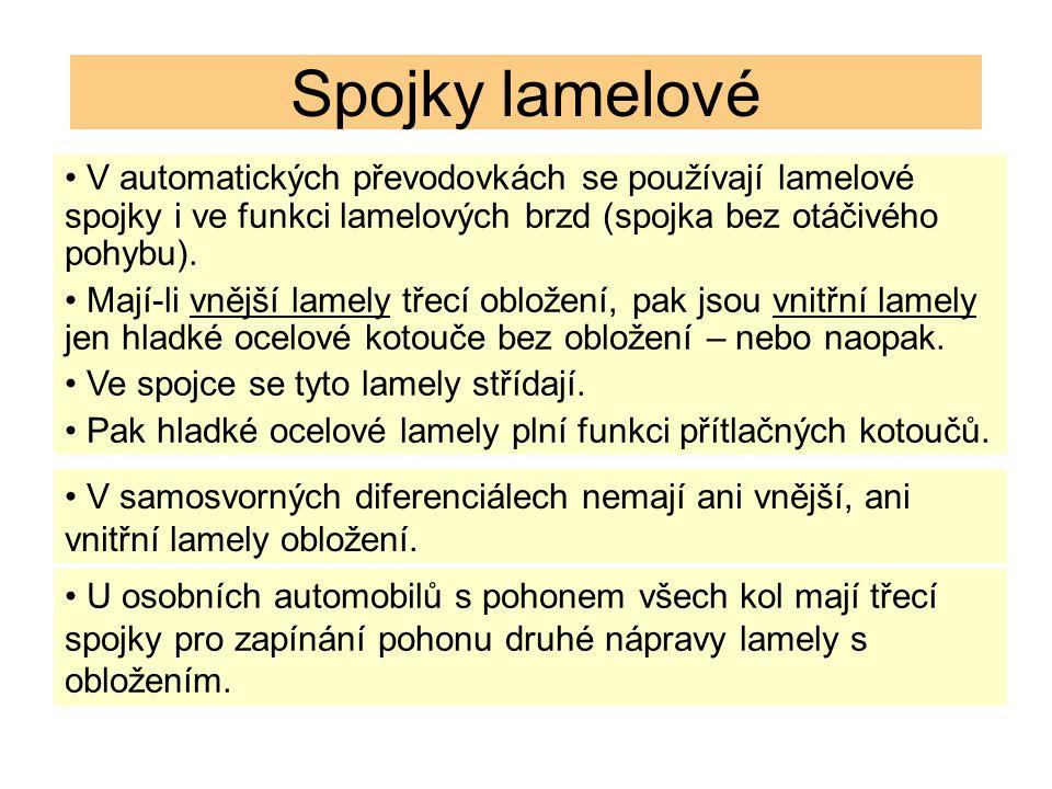 Spojky lamelové V samosvorných diferenciálech nemají ani vnější, ani vnitřní lamely obložení. V automatických převodovkách se používají lamelové spojk