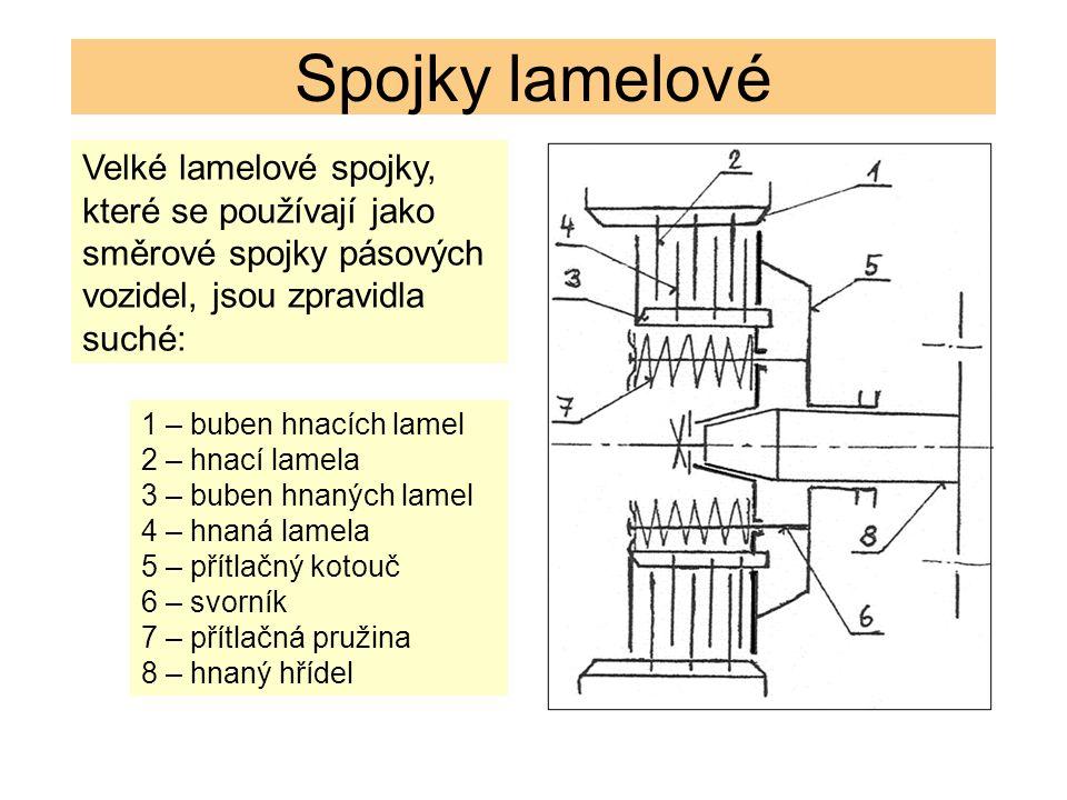 Spojky lamelové Velké lamelové spojky, které se používají jako směrové spojky pásových vozidel, jsou zpravidla suché: 1 – buben hnacích lamel 2 – hnací lamela 3 – buben hnaných lamel 4 – hnaná lamela 5 – přítlačný kotouč 6 – svorník 7 – přítlačná pružina 8 – hnaný hřídel