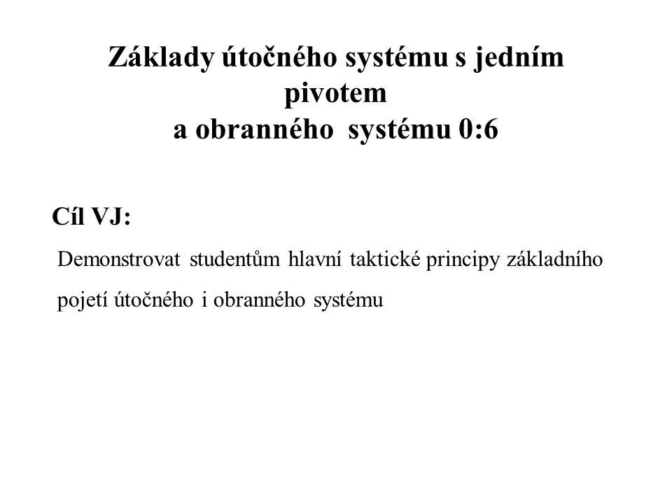 Základy útočného systému s jedním pivotem a obranného systému 0:6 Cíl VJ: Demonstrovat studentům hlavní taktické principy základního pojetí útočného i obranného systému
