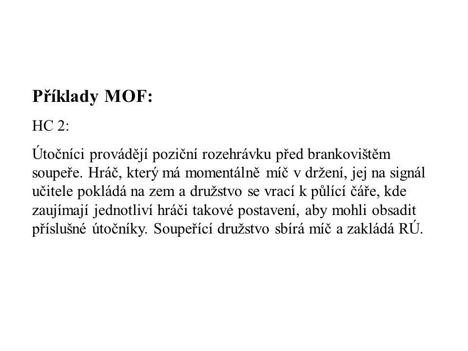 Příklady MOF: HC 2: Útočníci provádějí poziční rozehrávku před brankovištěm soupeře.