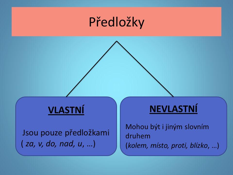 Předložky VLASTNÍ Jsou pouze předložkami ( za, v, do, nad, u, …) NEVLASTNÍ Mohou být i jiným slovním druhem (kolem, místo, proti, blízko, …)