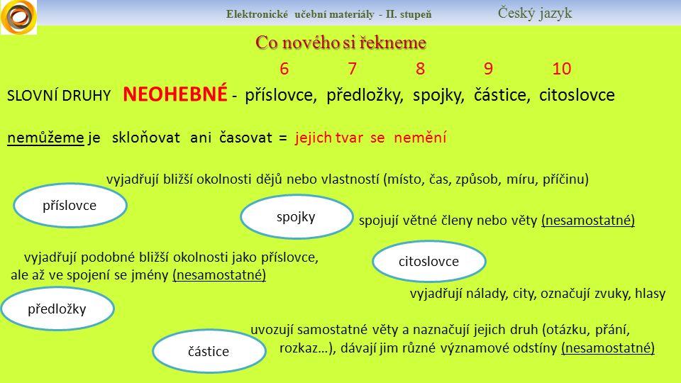 Elektronické učební materiály - II. stupeň Český jazyk Co nového si řekneme 678910 SLOVNÍ DRUHY NEOHEBNÉ - příslovce, předložky, spojky, částice, cito