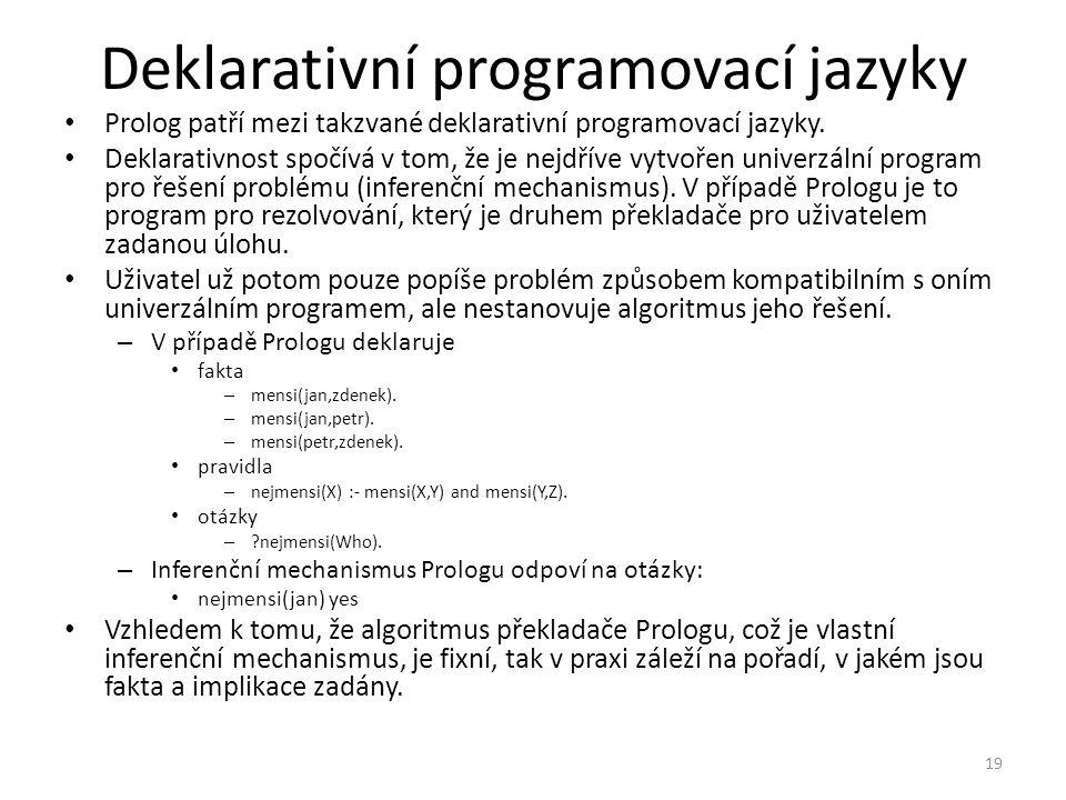 Deklarativní programovací jazyky Prolog patří mezi takzvané deklarativní programovací jazyky.