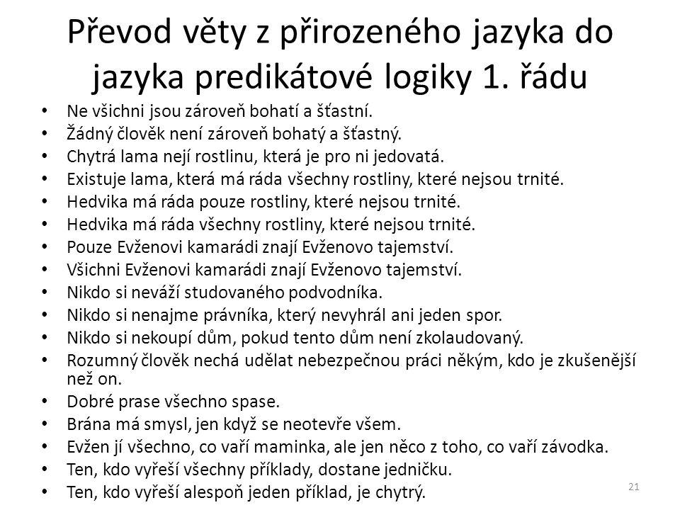 Převod věty z přirozeného jazyka do jazyka predikátové logiky 1.