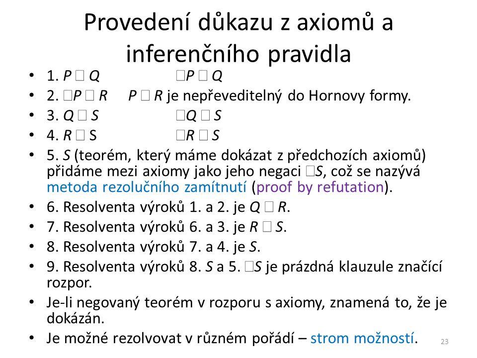 Provedení důkazu z axiomů a inferenčního pravidla 1.