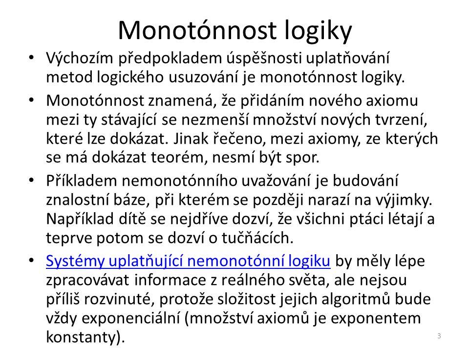 Monotónnost logiky Výchozím předpokladem úspěšnosti uplatňování metod logického usuzování je monotónnost logiky.