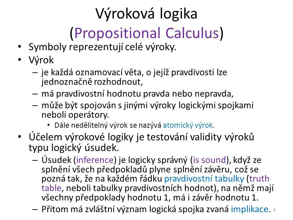 Výroková logika (Propositional Calculus) Symboly reprezentují celé výroky.