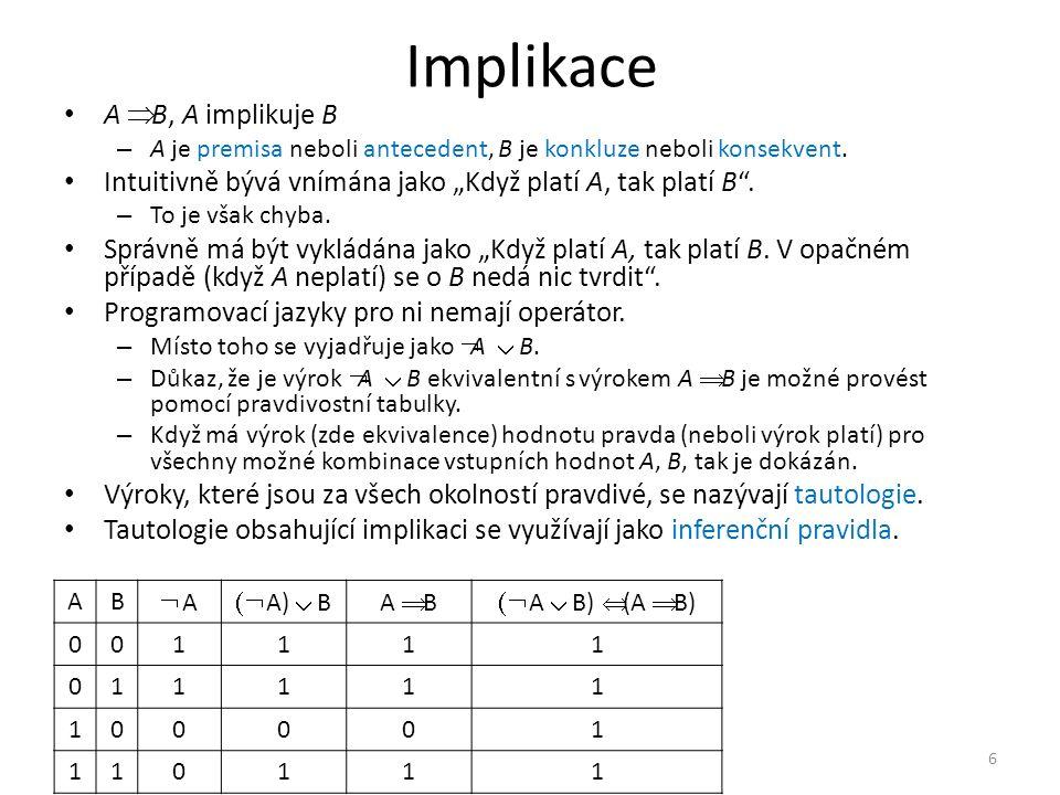 """Implikace A  B, A implikuje B – A je premisa neboli antecedent, B je konkluze neboli konsekvent. Intuitivně bývá vnímána jako """"Když platí A, tak plat"""