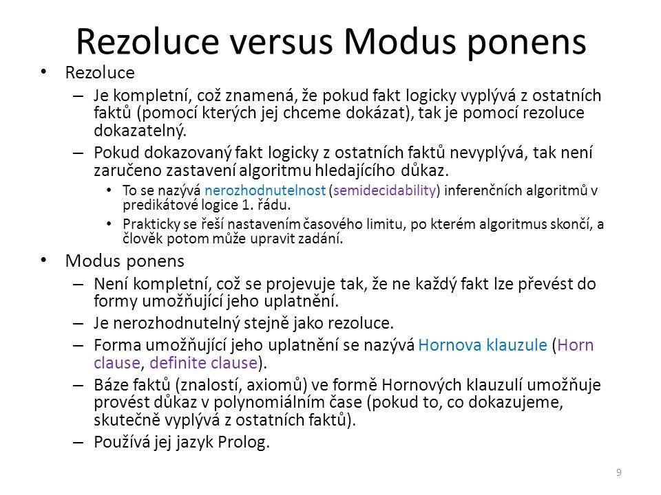Rezoluce versus Modus ponens Rezoluce – Je kompletní, což znamená, že pokud fakt logicky vyplývá z ostatních faktů (pomocí kterých jej chceme dokázat), tak je pomocí rezoluce dokazatelný.