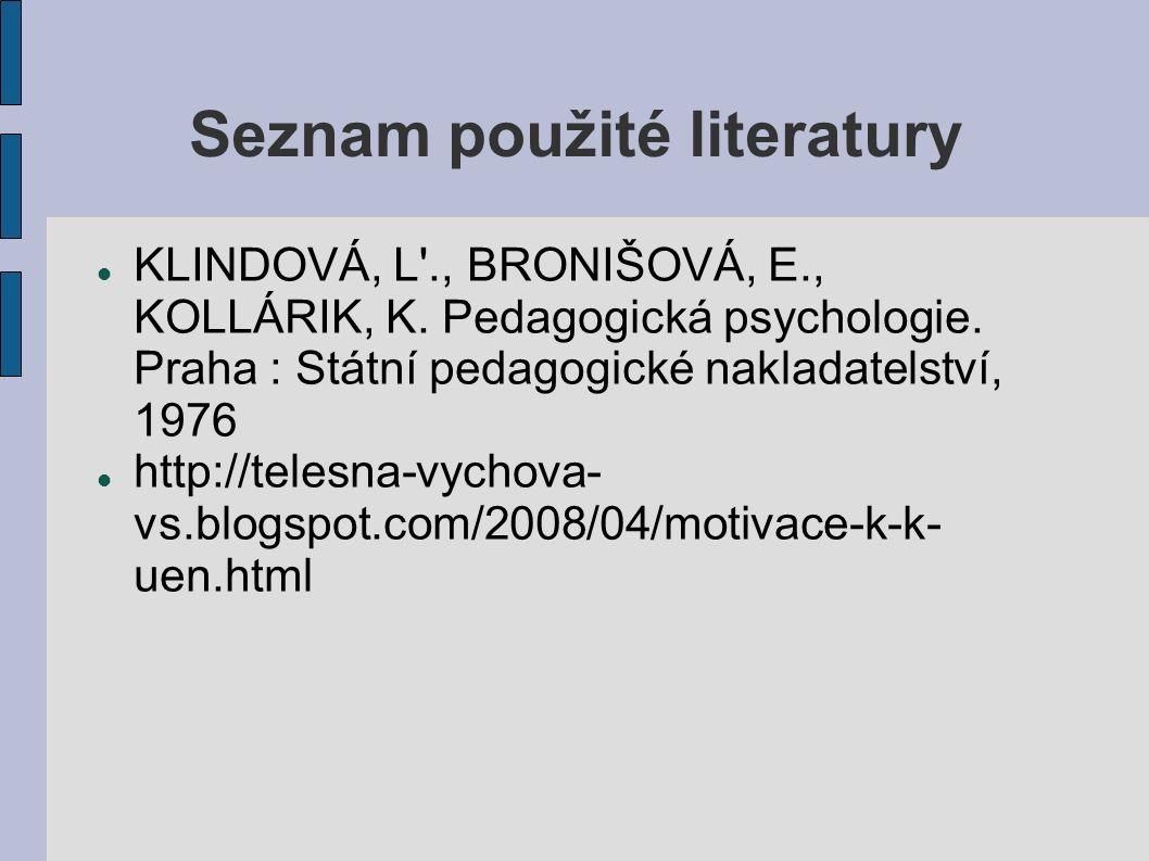 Seznam použité literatury KLINDOVÁ, L ., BRONIŠOVÁ, E., KOLLÁRIK, K.