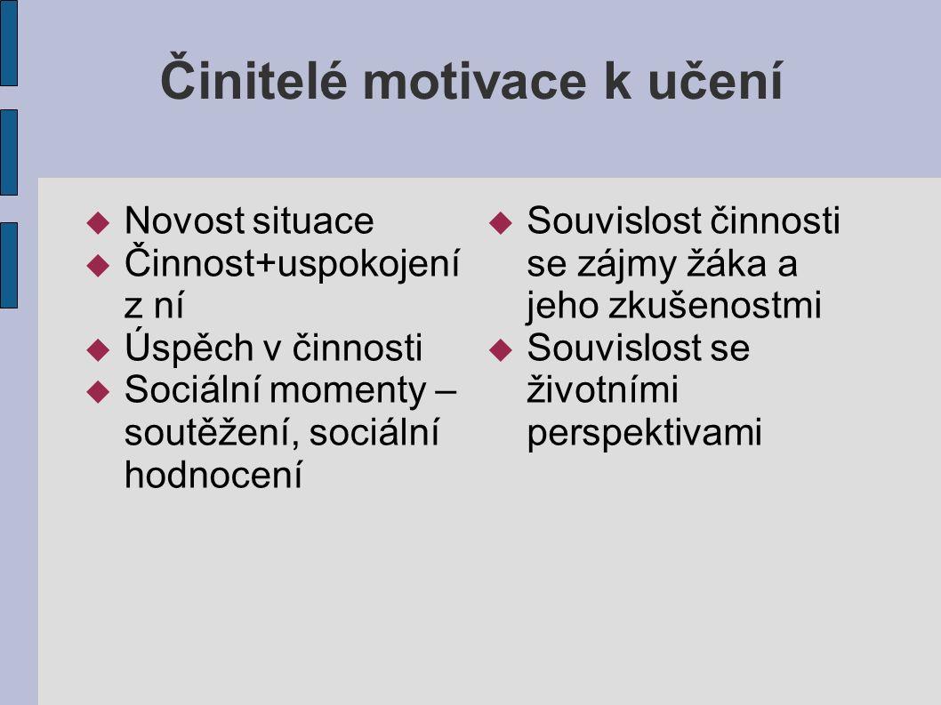 Motivační činitelé Zájem se chápe jako specifické zaměření na určitý předmět nebo jev, úsilí zaměstnávat se tímto předmětem nebo jevem.