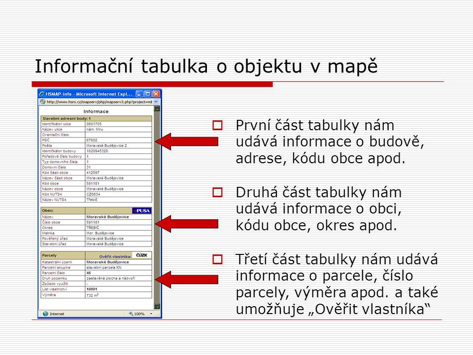 Informační tabulka o objektu v mapě  První část tabulky nám udává informace o budově, adrese, kódu obce apod.