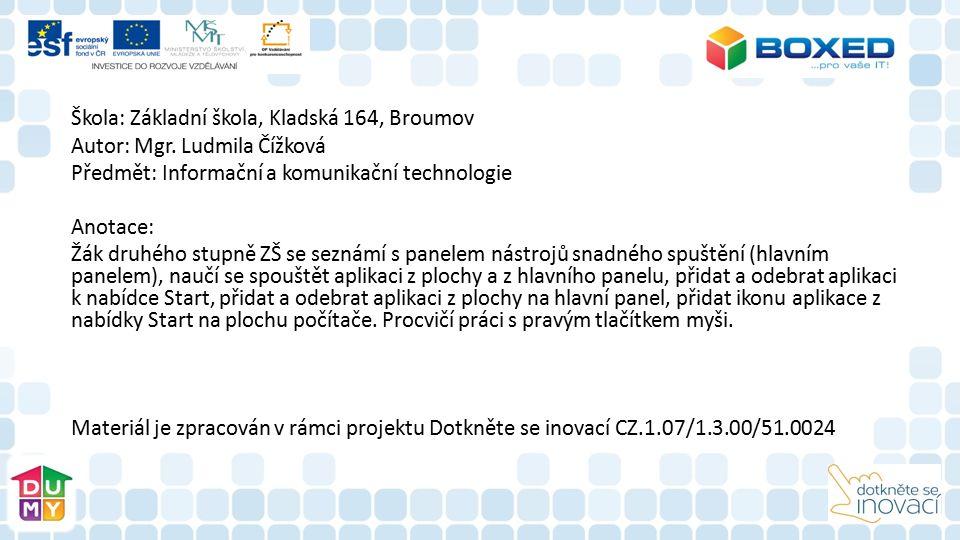 Škola: Základní škola, Kladská 164, Broumov Autor: Mgr.