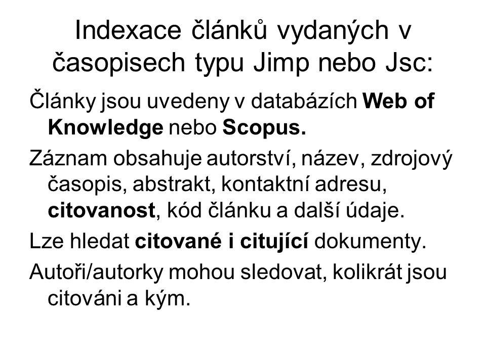 Indexace článků vydaných v časopisech typu Jimp nebo Jsc: Články jsou uvedeny v databázích Web of Knowledge nebo Scopus.