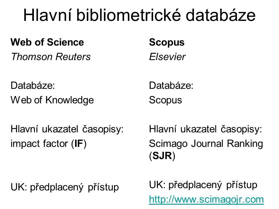 Hlavní bibliometrické databáze Web of Science Thomson Reuters Databáze: Web of Knowledge Hlavní ukazatel časopisy: impact factor (IF) UK: předplacený přístup Scopus Elsevier Databáze: Scopus Hlavní ukazatel časopisy: Scimago Journal Ranking (SJR) UK: předplacený přístup http://www.scimagojr.com