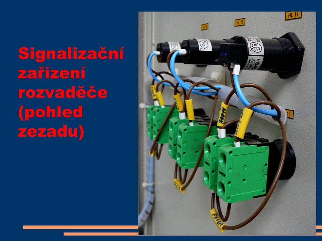Signalizační zařízení rozvaděče (pohled zezadu)