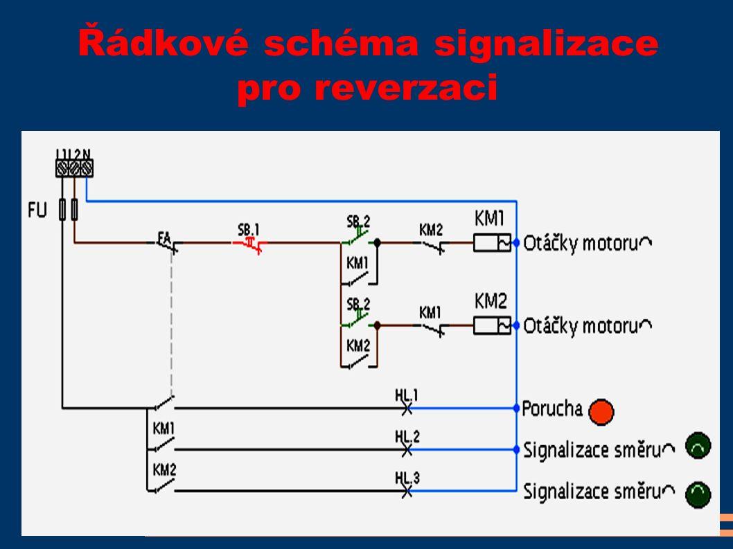 Řádkové schéma signalizace pro reverzaci
