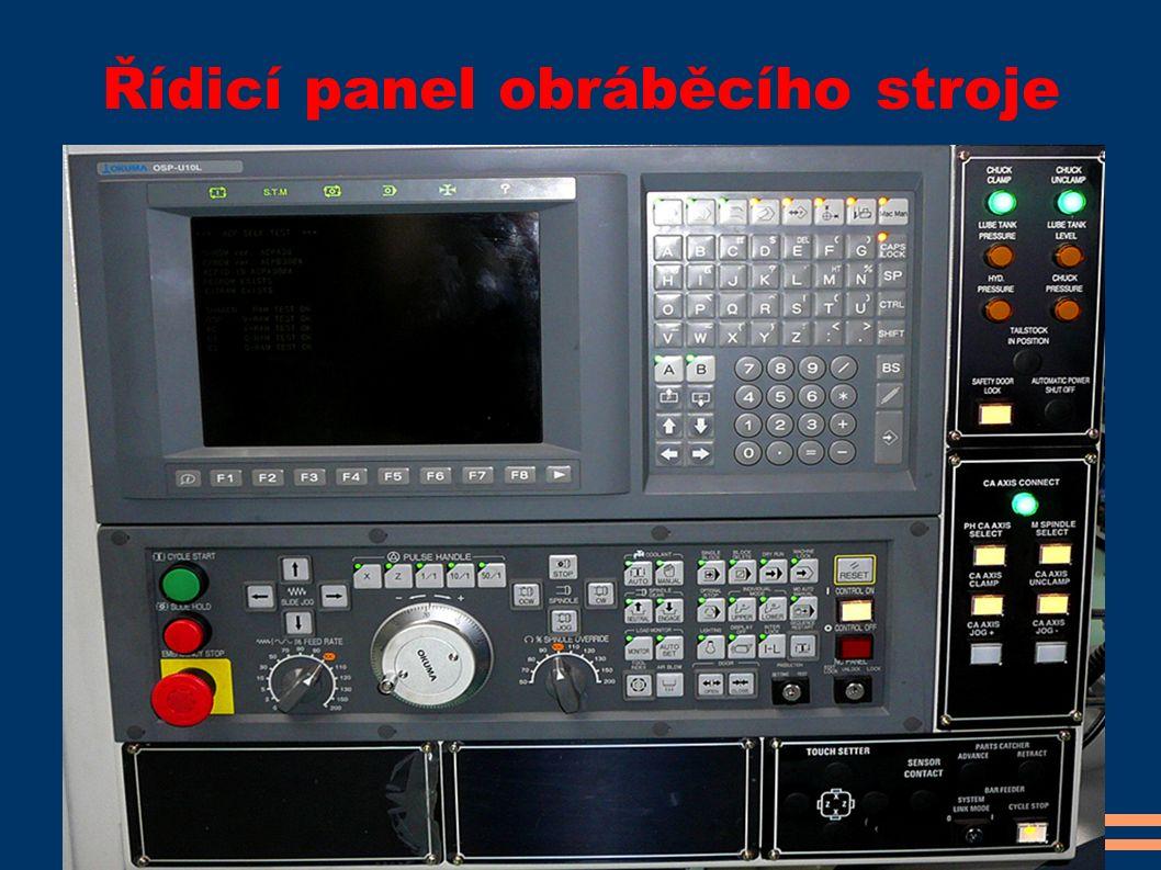 Řídicí panel obráběcího stroje