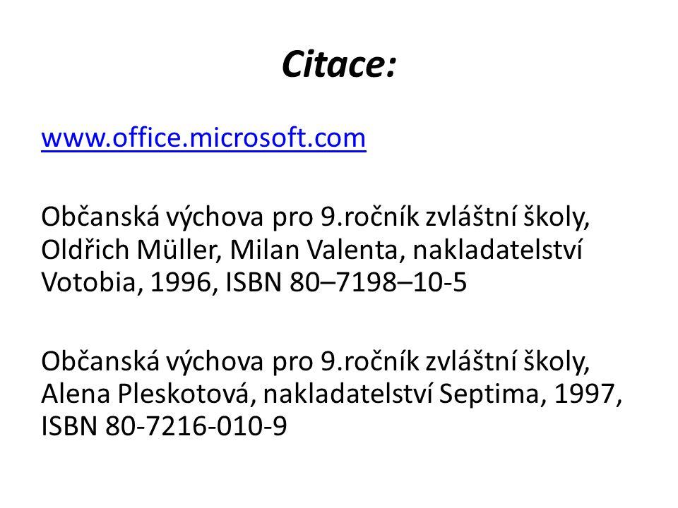 Citace: www.office.microsoft.com Občanská výchova pro 9.ročník zvláštní školy, Oldřich Müller, Milan Valenta, nakladatelství Votobia, 1996, ISBN 80–7198–10-5 Občanská výchova pro 9.ročník zvláštní školy, Alena Pleskotová, nakladatelství Septima, 1997, ISBN 80-7216-010-9