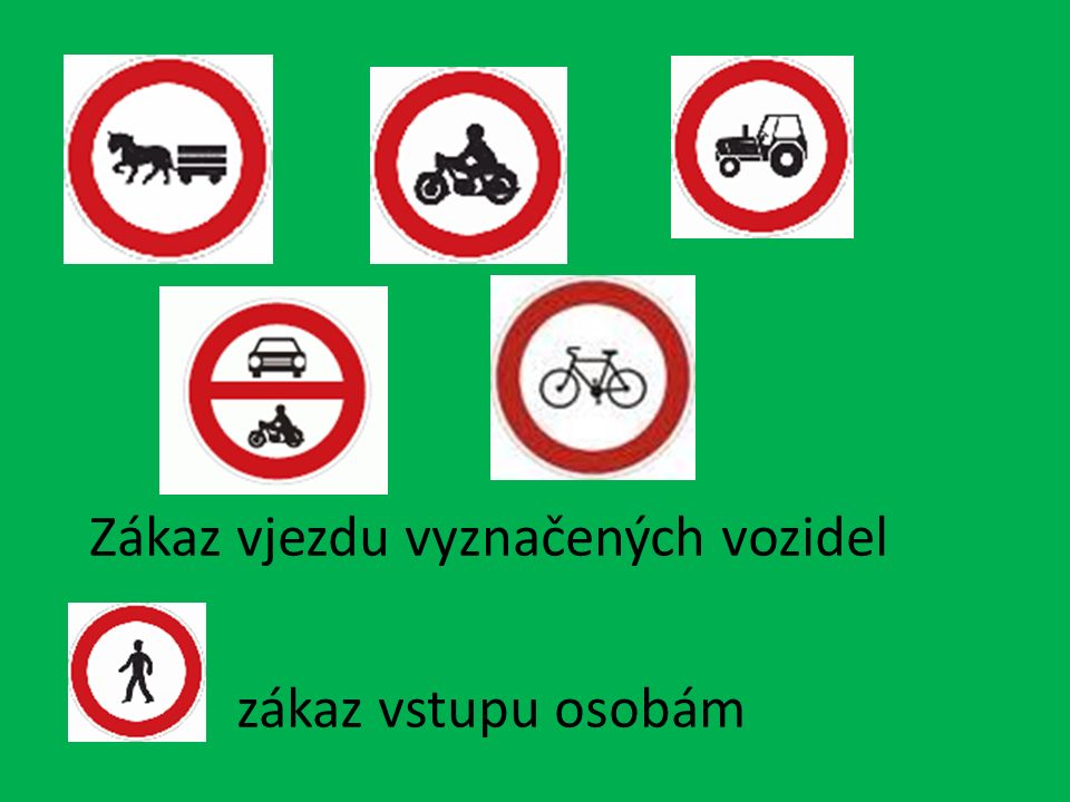 Příkazové značky Stezka pro chodce Stezka pro cyklisty Stezka pro chodce a cyklisty