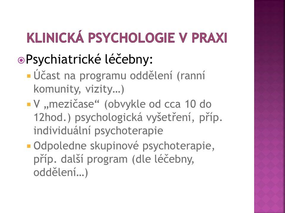 """ Psychiatrické léčebny:  Účast na programu oddělení (ranní komunity, vizity…)  V """"mezičase"""" (obvykle od cca 10 do 12hod.) psychologická vyšetření,"""