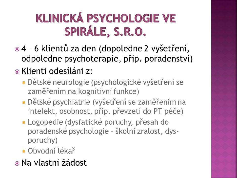  4 – 6 klientů za den (dopoledne 2 vyšetření, odpoledne psychoterapie, příp. poradenství)  Klienti odesíláni z:  Dětské neurologie (psychologické v