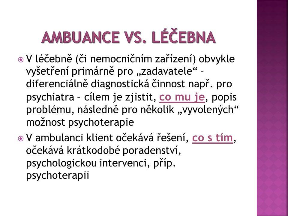 """ V léčebně (či nemocničním zařízení) obvykle vyšetření primárně pro """"zadavatele – diferenciálně diagnostická činnost např."""