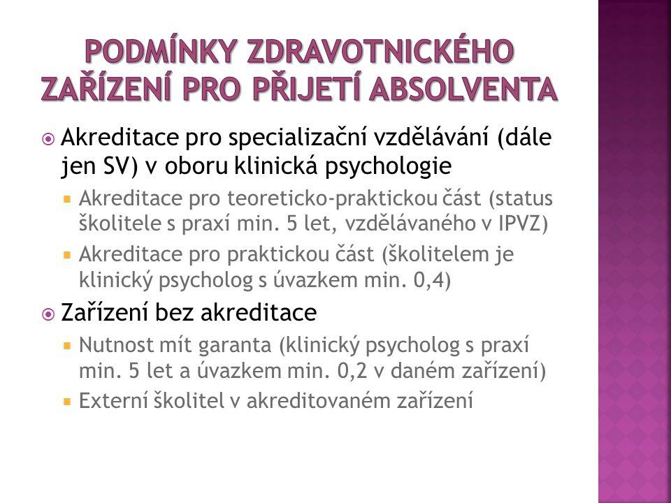  Akreditace pro specializační vzdělávání (dále jen SV) v oboru klinická psychologie  Akreditace pro teoreticko-praktickou část (status školitele s praxí min.