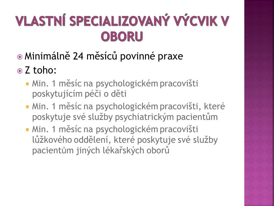  Minimálně 24 měsíců povinné praxe  Z toho:  Min. 1 měsíc na psychologickém pracovišti poskytujícím péči o děti  Min. 1 měsíc na psychologickém pr