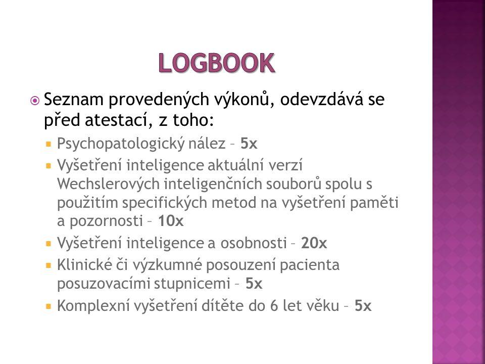  Seznam provedených výkonů, odevzdává se před atestací, z toho:  Psychopatologický nález – 5x  Vyšetření inteligence aktuální verzí Wechslerových i