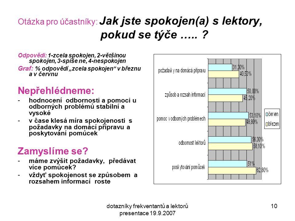 dotazníky frekventantů a lektorů presentace 19.9.2007 10 Otázka pro účastníky: Jak jste spokojen(a) s lektory, pokud se týče ….. ? Odpovědi: 1-zcela s
