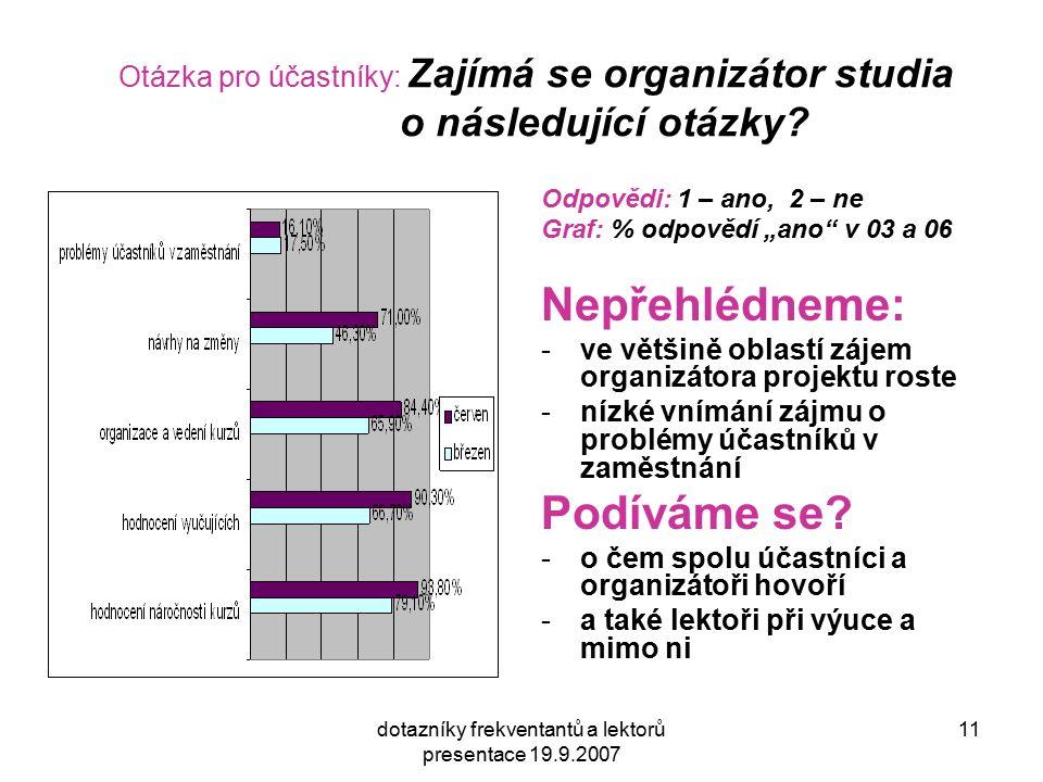 dotazníky frekventantů a lektorů presentace 19.9.2007 11 Otázka pro účastníky: Zajímá se organizátor studia o následující otázky.