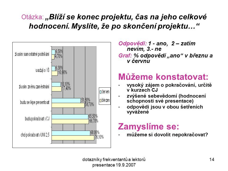 """dotazníky frekventantů a lektorů presentace 19.9.2007 14 Otázka: """"Blíží se konec projektu, čas na jeho celkové hodnocení. Myslíte, že po skončení proj"""