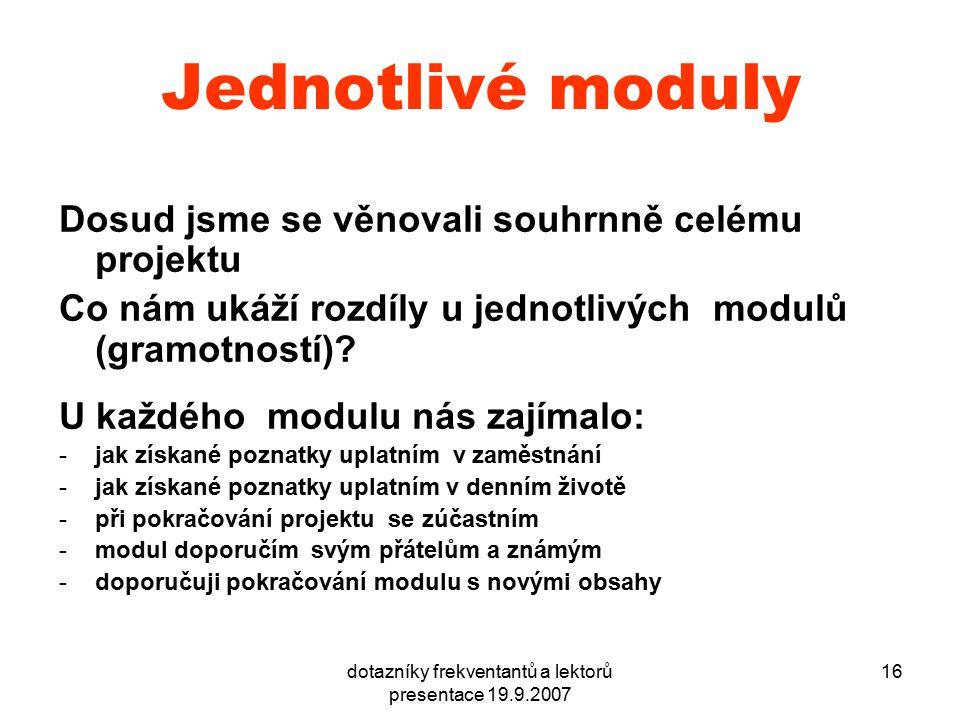 dotazníky frekventantů a lektorů presentace 19.9.2007 16 Jednotlivé moduly Dosud jsme se věnovali souhrnně celému projektu Co nám ukáží rozdíly u jednotlivých modulů (gramotností).