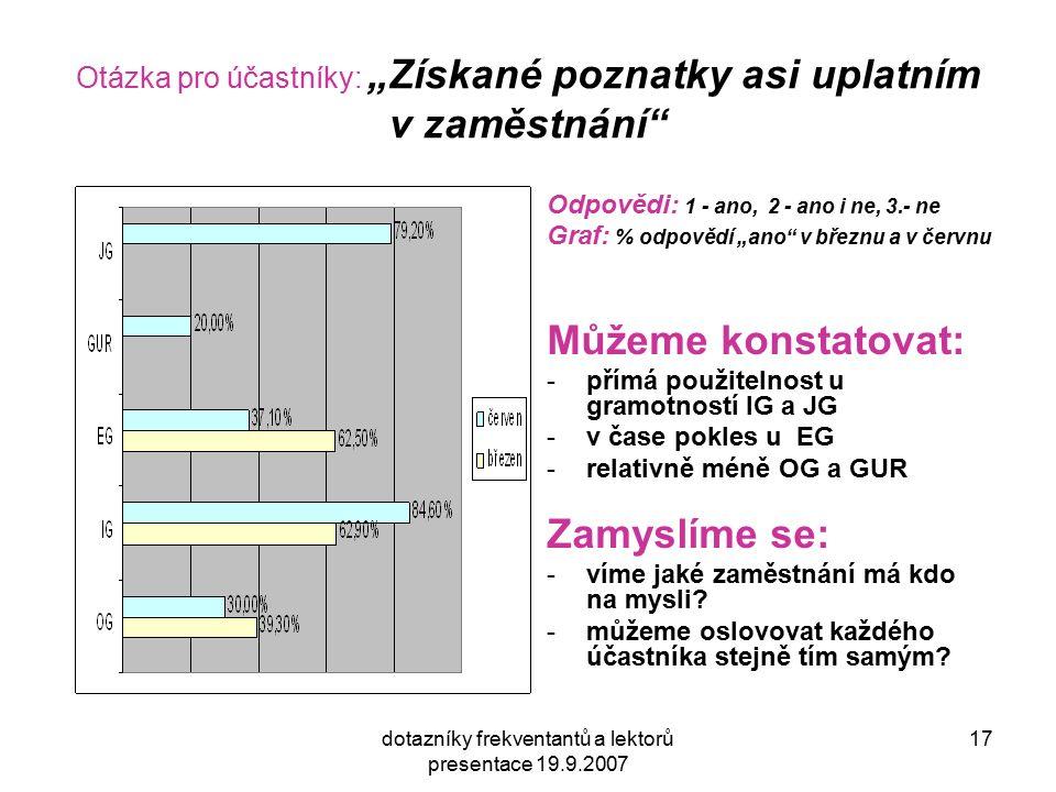"""dotazníky frekventantů a lektorů presentace 19.9.2007 17 Otázka pro účastníky: """"Získané poznatky asi uplatním v zaměstnání Odpovědi: 1 - ano, 2 - ano i ne, 3.- ne Graf: % odpovědí """"ano v březnu a v červnu Můžeme konstatovat: -přímá použitelnost u gramotností IG a JG -v čase pokles u EG -relativně méně OG a GUR Zamyslíme se: -víme jaké zaměstnání má kdo na mysli."""