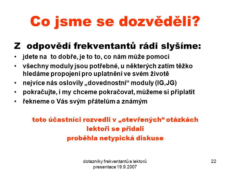 dotazníky frekventantů a lektorů presentace 19.9.2007 22 Co jsme se dozvěděli? Z odpovědí frekventantů rádi slyšíme: jdete na to dobře, je to to, co n