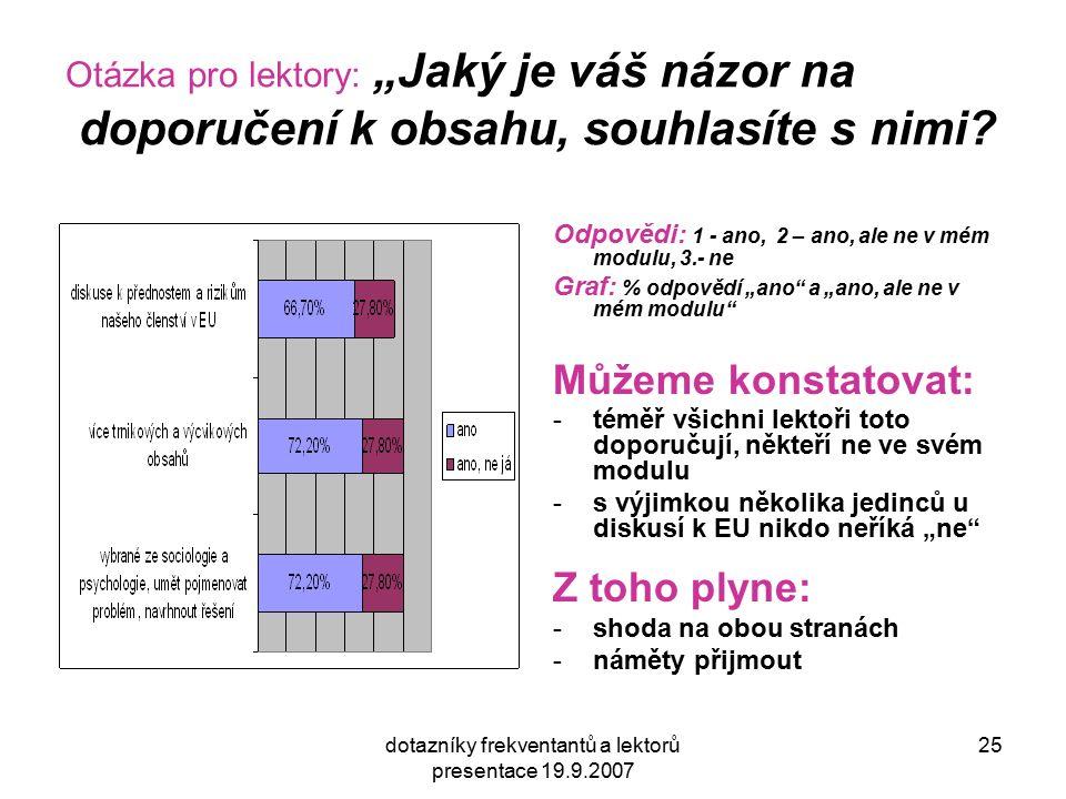 """dotazníky frekventantů a lektorů presentace 19.9.2007 25 Otázka pro lektory: """"Jaký je váš názor na doporučení k obsahu, souhlasíte s nimi? Odpovědi: 1"""