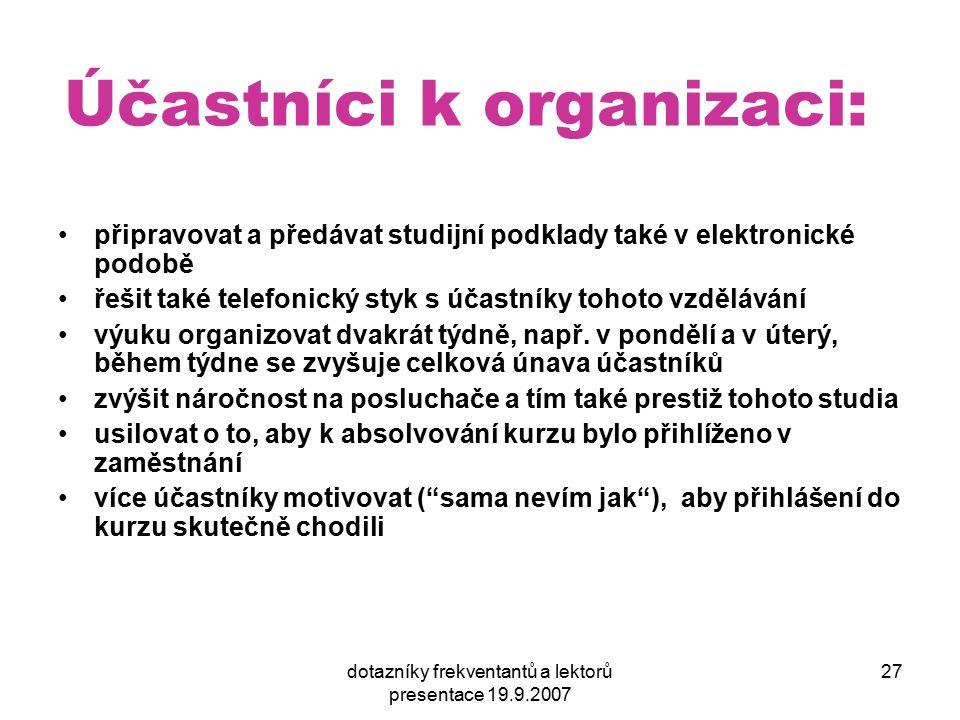 dotazníky frekventantů a lektorů presentace 19.9.2007 27 Účastníci k organizaci: připravovat a předávat studijní podklady také v elektronické podobě ř