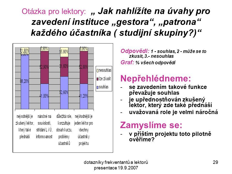 """dotazníky frekventantů a lektorů presentace 19.9.2007 29 Otázka pro lektory: """" Jak nahlížíte na úvahy pro zavedení instituce """"gestora , """"patrona každého účastníka ( studijní skupiny ) Odpovědi: 1 - souhlas, 2 - může se to zkusit, 3.- nesouhlas Graf: % všech odpovědí Nepřehlédneme: -se zavedením takové funkce převažuje souhlas -je upřednostňován zkušený lektor, který zde také přednáší -uvažovaná role je velmi náročná Zamyslíme se: -v příštím projektu toto pilotně ověříme"""