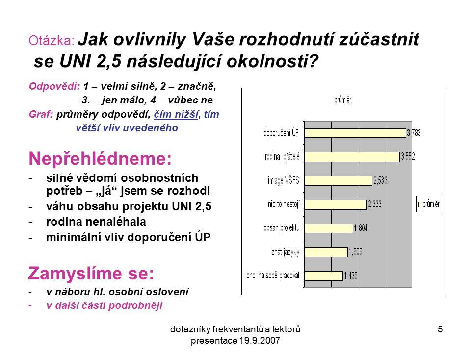 dotazníky frekventantů a lektorů presentace 19.9.2007 5 Otázka: Jak ovlivnily Vaše rozhodnutí zúčastnit se UNI 2,5 následující okolnosti? Odpovědi: 1