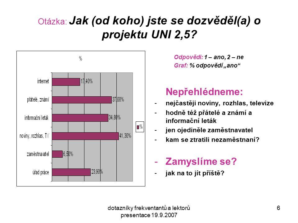 dotazníky frekventantů a lektorů presentace 19.9.2007 6 Otázka: Jak (od koho) jste se dozvěděl(a) o projektu UNI 2,5? Odpovědi: 1 – ano, 2 – ne Graf: