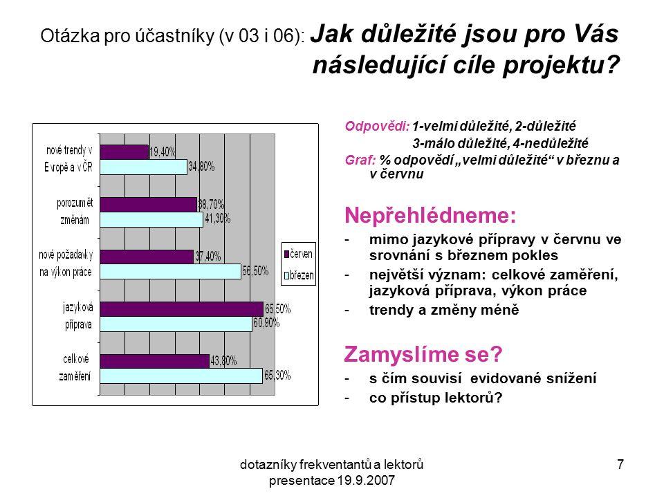 dotazníky frekventantů a lektorů presentace 19.9.2007 7 Otázka pro účastníky (v 03 i 06): Jak důležité jsou pro Vás následující cíle projektu? Odpověd