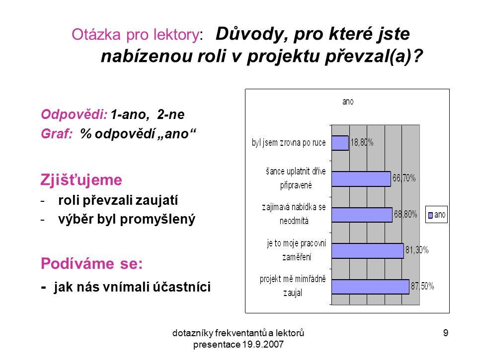 dotazníky frekventantů a lektorů presentace 19.9.2007 9 Otázka pro lektory: Důvody, pro které jste nabízenou roli v projektu převzal(a).