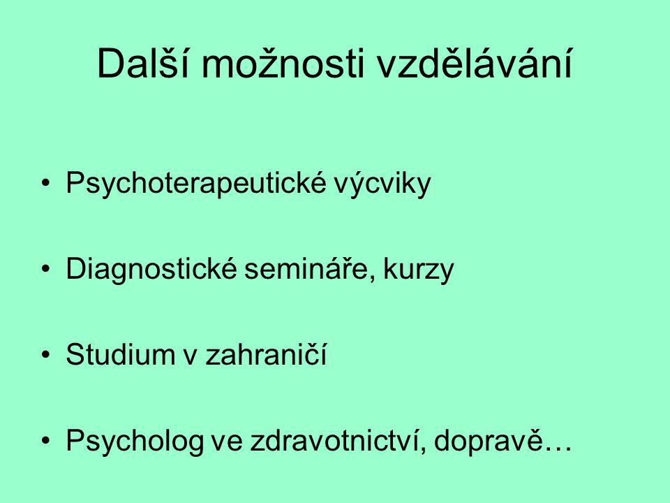 Další možnosti vzdělávání Psychoterapeutické výcviky Diagnostické semináře, kurzy Studium v zahraničí Psycholog ve zdravotnictví, dopravě…
